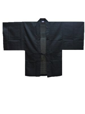 Photo1: Outer wear -haori- Black, Cotton, One size fits all