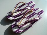 "Japanese ""ZORI"" purple arrows - Kimono Sandals- Size 7 1/16in"