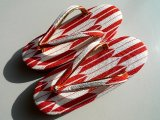 "Japanese ""ZORI"" red arrows - Kimono Sandals- Size 7 1/16in"