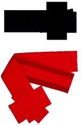 Sash / Japanese -one touch velcro belt- Red, Black, Cotton