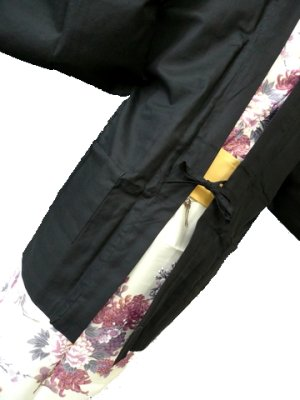 Photo4: Outer wear -haori- Black, Cotton, One size fits all