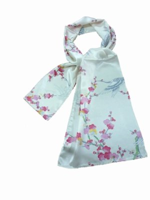 Photo1: Silk Stole -umetsuru- / Plum & crane