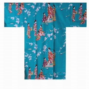 Photo1: Ladies' Japanese Happi Coat -tachisugata- Tq blue, Cotton, 42in / Kimono ladies