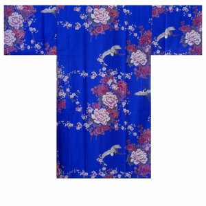 Photo1: Ladies' Japanese Happi Coat -kikubotan- Blue, Cotton, 42in / Flying crane and peony