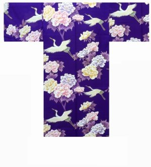 Photo1: One size fits all / Ladies' Japanese Happi Coat -botan tsuru- Purple, Cotton, 42in - SPECIAL DISCOUNT