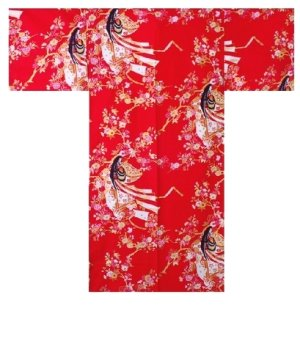 Photo3: One size fits all / Ladies' Japanese Robe -hime zakura- Red, Cotton, 42in - SPECIAL DISCOUNT
