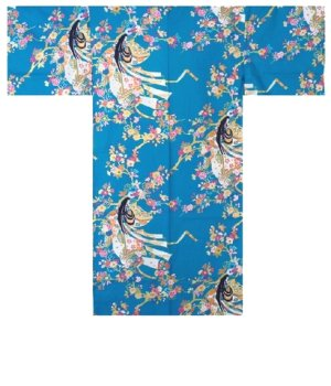 Photo1: One size fits all / Ladies' Japanese Happi Coat -hime zakura- Tq blue, Cotton, 42in - SPECIAL DISCOUNT