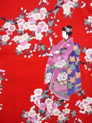 Photo3: Small / Ladies' Japanese Kimono Robe -sakura maiko- Red, Cotton - SPECIAL DISCOUNT