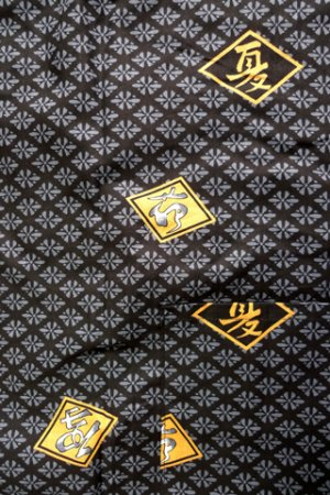 Photo2: Men's Japanese Jinbei -hishimoji- Black, Cotton, Xlarge / Diamond pattern