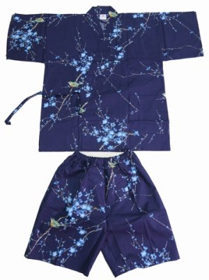 "Photo1: Ladies' JINBEI ""UME UGUISU"" -- plum & bush warbler -- Size M"