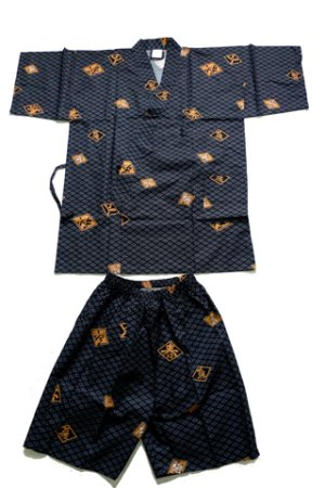 Photo1: Men's Japanese Jinbei -hishimoji- Black, Cotton, Xlarge / Diamond pattern