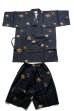 Photo1: Men's Japanese Jinbei -hishimoji- Black, Cotton, Xlarge / Diamond pattern (1)