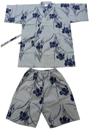 Photo1: Ladies' Japanese Jinbei -shima ayame- White, Cotton, Large / Iris & stripe