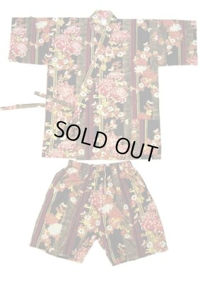 Photo1: Ladies' Japanese Jinbei -shima rangiku- Black, Cotton, Medium / Chrysanth blooming