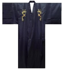 Other Images1: Men's Japanese Kimono -kaenryu- Navy, Polyester, Medium, Embroidery / Flare dragon