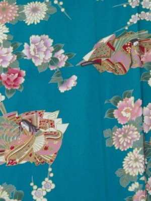 Photo2: Girls' 40inch / Japanese Kimono -hime botan- Tq blue, Cotton - SPECIAL DISCOUNT