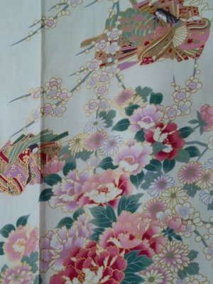 Photo2: Small / Ladies' Japanese Kimono Robe -himebotan- White, Cotton - SPECIAL DISCOUNT