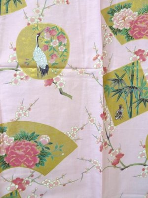 Photo2: Ladies' Japanese Short Happi -kintsuru- Pink, Cotton, 35in / Beautiful crane