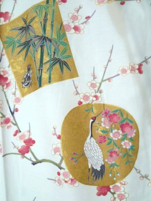 Photo2: Ladies' Japanese Short Happi -kintsuru- White, Cotton, 35in / Beautiful crane