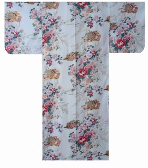Photo1: Small / Ladies' Japanese Kimono Robe -himebotan- White, Cotton - SPECIAL DISCOUNT