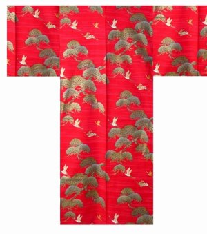 Photo1: Men's Japanese Kimono -matsutsuru- Red, Cotton, Medium / Pine tree & crane