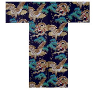 Photo1: Men's Japanese Kimono -ryuwashi- Black, Cotton, Medium / Dragon & eagle