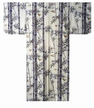 Photo2: Ladies' Japanese Kimono -takesuzume- White, Cotton, Medium / Bamboo & sparrow