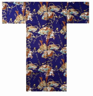 Photo1: Men's Japanese Kimono -musha- Navy, Cotton, Medium / -samurai- Warrior