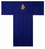 Medium / Men's Japanese Kimono -kotobuki- Navy, Cotton, Embroidery - SPECIAL DISCOUNT
