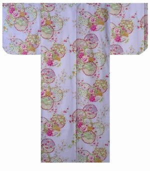 Photo1: Small / Ladies' Japanese Kimono Robe -shiki no hana- Purple, Cotton - SPECIAL DISCOUNT