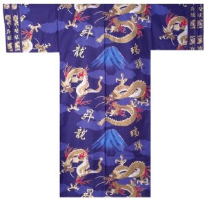 Photo1: Men's Japanese Kimono -fuji to ryu- Navy, Cotton, Medium / Dragon on -Mt.fuji-
