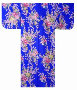 Photo2: Ladies' Japanese Kimono -botanran- Blue, Cotton, Medium / Peony & orchis