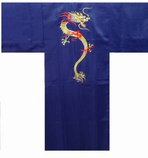Photo1: Men's Japanese Kimono -kaenryu- Navy, Polyester, Medium, Embroidery / Flare dragon