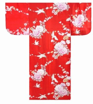 Photo1: Medium / Ladies' Japanese Kimono Robe -tsurubotan- Red, Silk - SPECIAL DISCOUNT