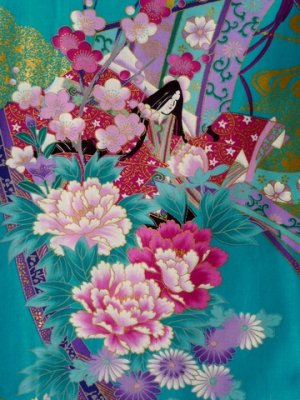 Photo2: Ladies' Japanese Short Happi -noshi hime- Tq blue, Cotton, 35in / Little -kimono- princess