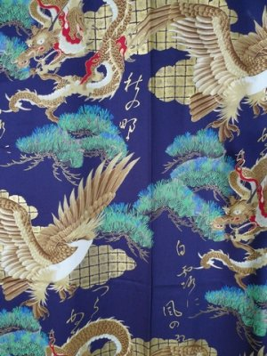 Photo2: Men's Japanese Kimono -ryuwashi- Navy, Cotton, Medium / Dragon & eagle