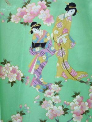 Photo2: Ladies' Japanese Short Happi -sakura tachisugata- Green, Cotton, 35in / -sakura- and Japanese beauty
