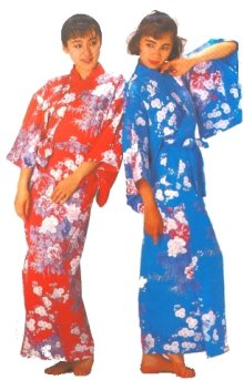 Other Images1: Ladies' Japanese Kimono -botanran- Blue, Cotton, Medium / Peony & orchis