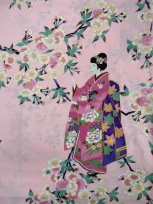 "Photo2: For Ladies' SPECIAL DISCOUNT Japanese Cotton Kimono Robe - ""SAKURA MAIKO"" Length 54 in"