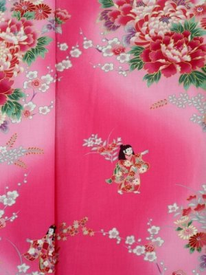 Photo2: Girl's Japanese Jinbei -bokashi ningyou- Pink, Cotton, Xsmall / Doll in flower