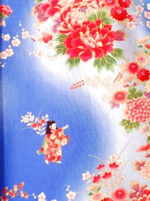 Photo2: Girl's Japanese Kimono -bokashi ningyou- Blue, Cotton, 50in / Doll in flower