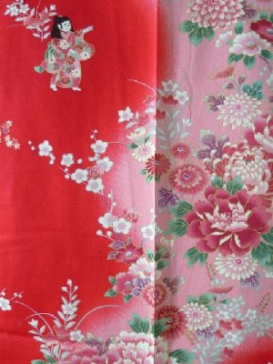 Photo2: Girl's Japanese Kimono -bokashi ningyou- Red, Cotton, 50in / Doll in flower