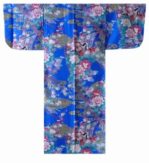 Photo1: Girl's Japanese Kimono -noshi hime- Blue, Cotton, 50in / Little -kimono- princess