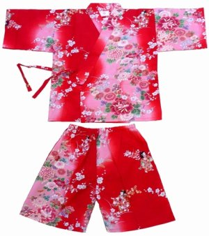 Photo1: Girl's Japanese Jinbei -bokashi ningyou- Red, Cotton, 2Xlarge / Doll in flower