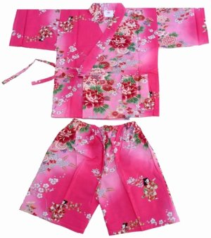 Photo1: Girl's Japanese Jinbei -bokashi ningyou- Pink, Cotton, Xsmall / Doll in flower