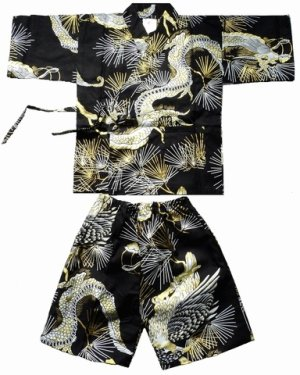 Photo1: Boy's Japanese Jinbei -matsuryu- Black, Cotton, 2Xlarge / Dragon & hawk