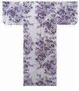Girls' 25inch / Japanese Yukata -yuri- White, Cotton - SPECIAL DISCOUNT