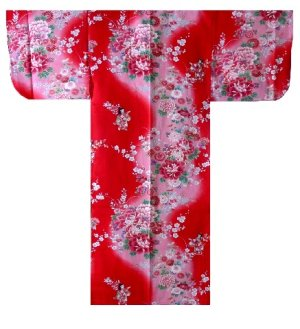 Photo1: Girl's Japanese Kimono -bokashi ningyou- Red, Cotton, 50in / Doll in flower