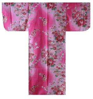 Photo1: Girl's Japanese Kimono -bokashi ningyou- Pink, Cotton, 30in / Doll in flower