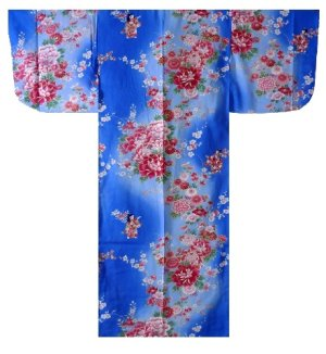 Photo1: Girl's Japanese Kimono -bokashi ningyou- Blue, Cotton, 50in / Doll in flower